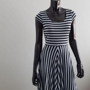 Loft Stripped Flared Midi Dress Size S